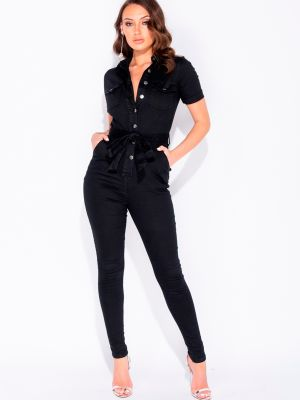 ALIS - SORT DENIM JUMPSUIT MED BRYSTLOMMER