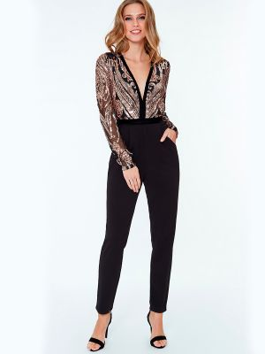 Stephanie - Sort jumpsuit med mesh og pailletter.