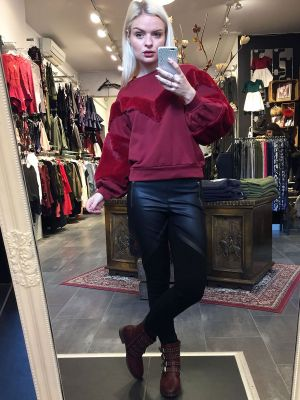 BORDEAUX BLUSE MED VELOUR JOLLYOUNG