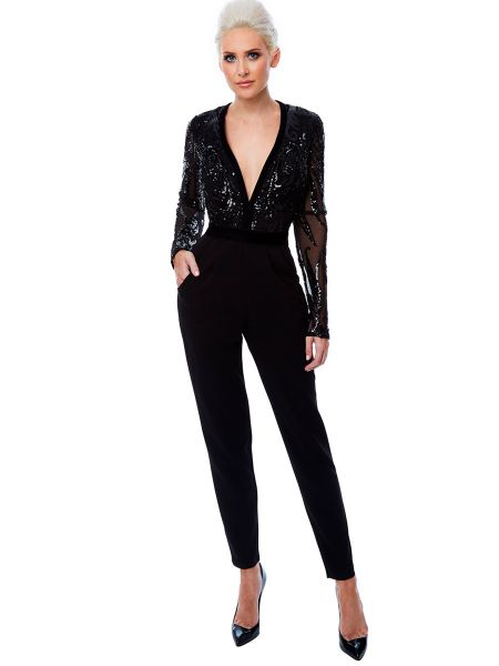 SORT JUMPSUIT MED MESH OG PILLETTER STEPHANIE JOLLYYOUNG